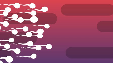 A funny 3d rendering of moving white spermatozoids with waving tails covering the light violet and purple background with oval black tubes. All of them look lively