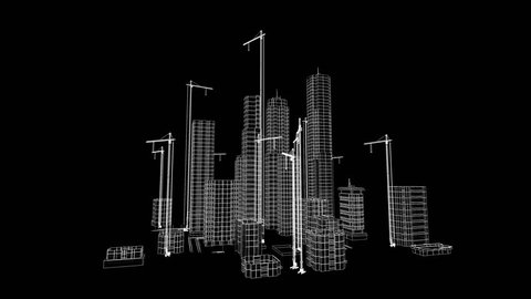 Flying Over Growing City. Beautiful 3d Blueprint of Contemporary Buildings with Cranes. White on Black 3d animation. Construction Business and Technology Concept.