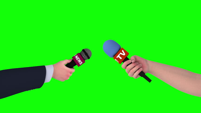 Two hands with microphones on green screen, seamless loop 3d animation. #1011772595