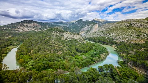 Time lapse from the curve of the Guadalhorce river at the beginning of the caminito del Rey, Ardales province of Malaga.Andalucia, Spain.El chorro.