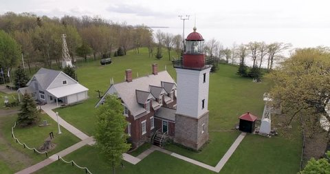 Historic lighthouse Dunkirk, NY. Aerial View