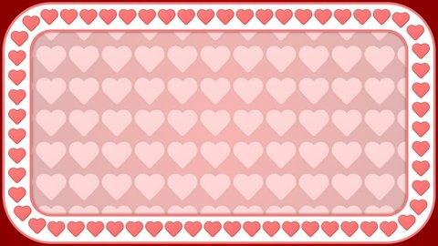 Heart romantic love red white background rectangle frame