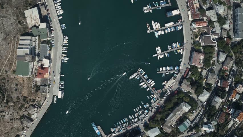 Black sea. Crimea. Aerial view of Crimean coast. Balaklava bay, yachting.