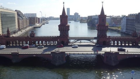 Aerial drone moving forwards - Berlin Oberbaumbrücke Germany 4k