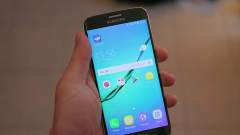 BUDAPEST, HUNGARY - MARCH 05, 2018: Samsung Galaxy S6 Edge smartphone turned off. Samsung's Super AMOLED display is one of the best on the market