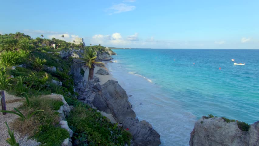 Tulum Mexico Beach Tracking Shot