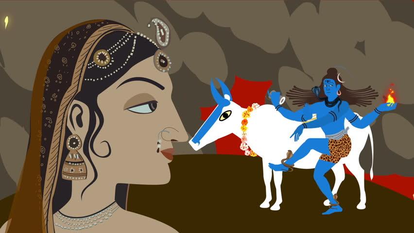 Lord Shiva Nandi and Parvati