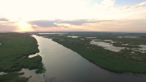 Beautiful Danube Delta National Park, Aerial View
