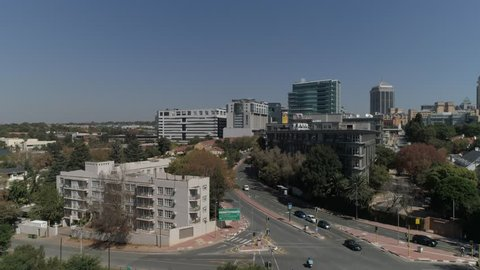 Aerial Shot of Sandton city , a up market area in South Africa.