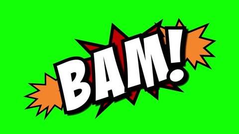 A comic strip speech cartoon animation with an explosion shape. Words: Bam, Pow, Zap. White text, red and yellow spikes, green background.