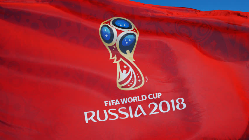 RUSSIA MOSCOW JUNE 2018:  FIFA 2018 World Cup flag waving in slow motion against blue sky, editorial animation, seamlessly looped, close up, isolated on alpha channel.