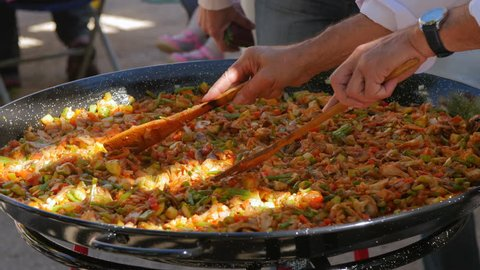 Making a Popular Paella in Spain. Close Up.