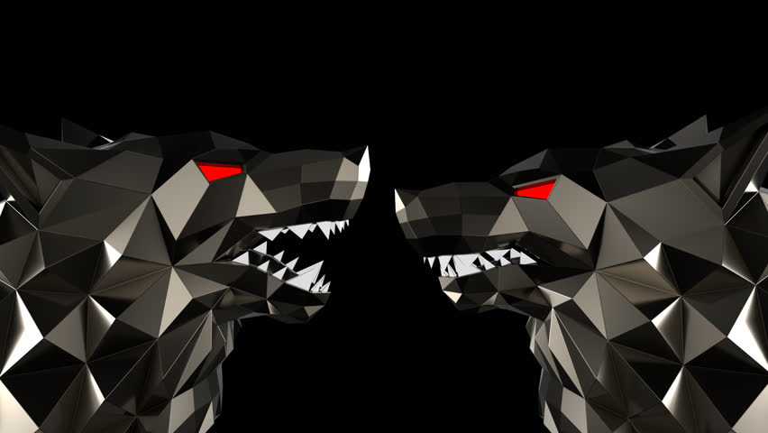 Low Poly Wolf Head VJ Loop - stock motion graphics features a low poly wolf head stylized like the Sin City or a Frank Miller Cartoon. The head turns and roars, with red stripes pulsating in the backg