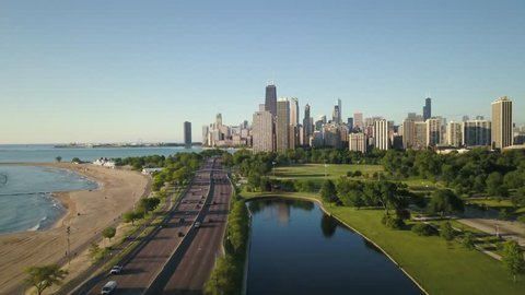 Aerial video of Chicago Illinois during the day.