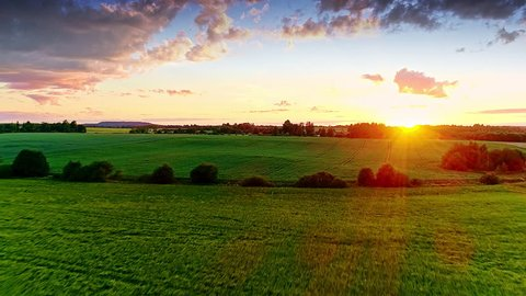 Beautiful nature, aerial drone forward motion wide view on rural countryside landscape, canola oilseed and wheat fields, shining sun sunset sky horizon