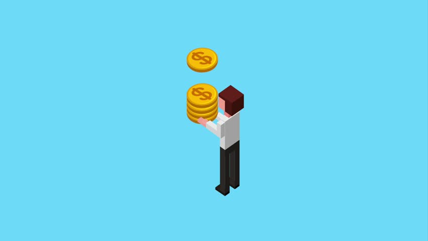 back view business man holding stack money coins