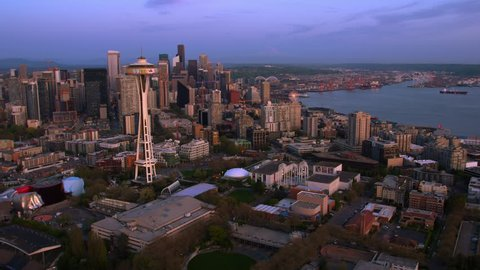 Seattle Washington Aerial View from South Lake Union area May 2018
