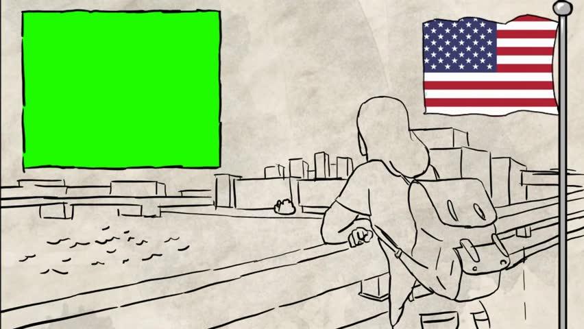 USA  hand drawn tourism | Shutterstock HD Video #1012042535