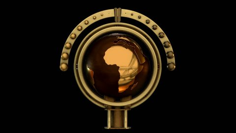 3d Steampunk Globe Model animation. Includes ALPHA MATTE. Ideal 4K animation for Science fiction movies, TV shows, intro, news, commercials, retro, fantasy, steampunk related projects etc.