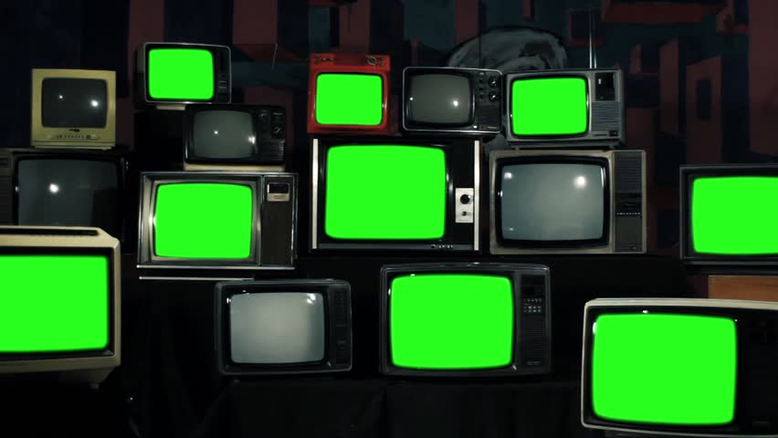 "Multi Screen. Old Retro TVs turning off green screen. You can Replace Green Screen with the Footage or Picture you Want with ""Keying"" effect in AE (check out tutorials on YouTube).  