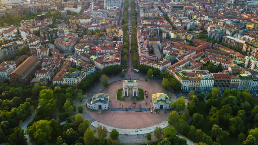Sunny evening milan city park aerial panorama 4k timelapse italy | Shutterstock HD Video #1012081325