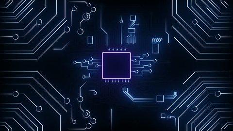 Digital motherboard and CPU. Digital grid. Energy waves. CPU Processing. Digital network. Computing.
