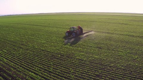 Tractor sprinkles the soybean field with chemicals in sunny spring day. Aerial footage