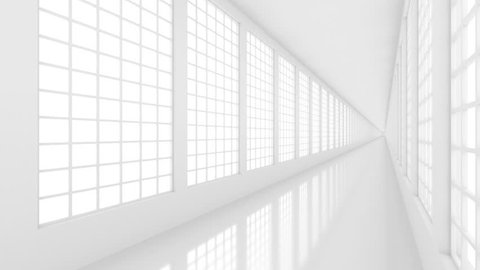 Futuristic empty white corridor with bright light from windows and glossy floor. Seamless looping animation
