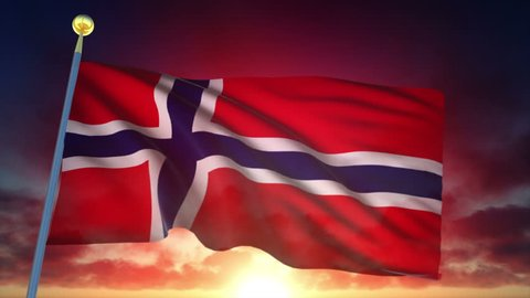 Norway Flag at Sunset - 25 fps - Loop Animation
