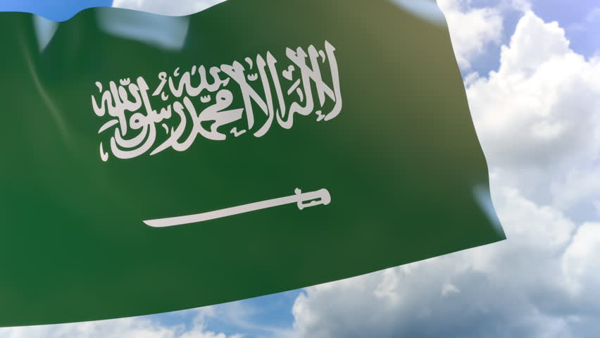 3D rendering of Saudi Arabia flag waving on blue sky background with Alpha channel, Saudi National Day is celebrated in Saudi Arabia on every 23 September | Shutterstock HD Video #1012161125