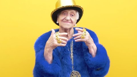 Grandmother funny moments on colored backgrounds