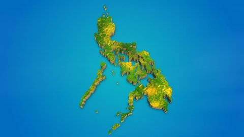 Philippines country map satellite camera zoom in sky effect shot visualization
