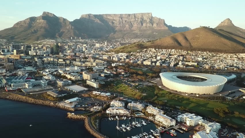Aerial view across Cape Town, South Africa towards Table Mountain