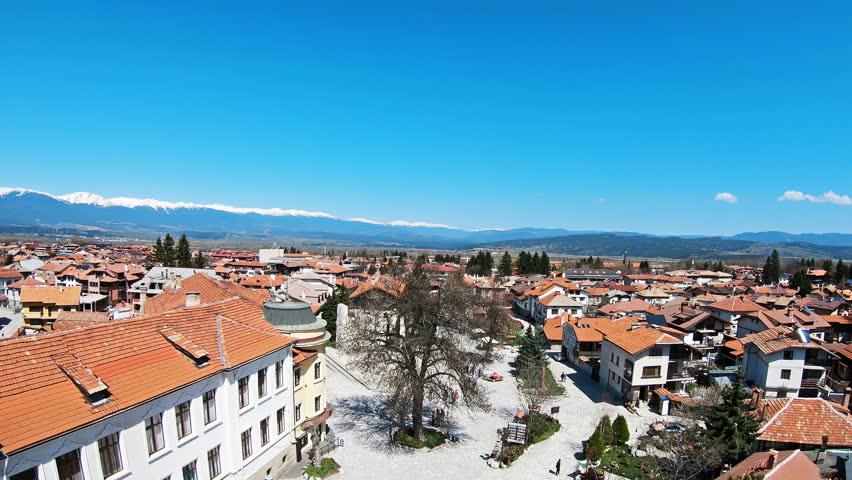 Panoramic aerial view of Bansko town, Bulgaria a famous ski centar and world ski cup winter resort