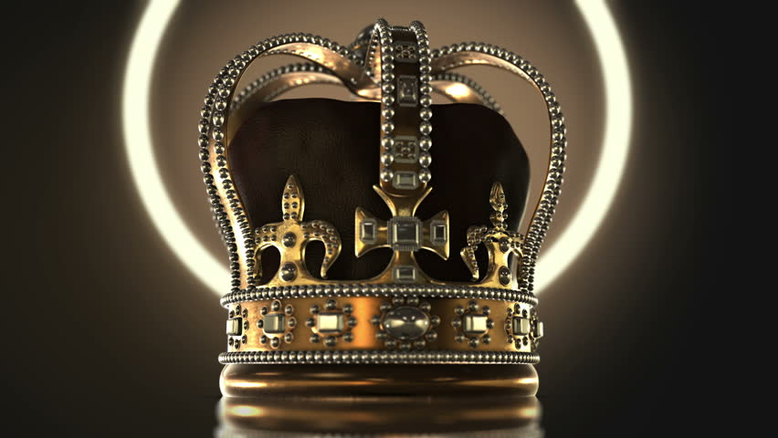 This stock motion graphic features a gold crown in with leather cloth inlay. Gems decorate this royal headgear that rotate on a platform. Use this clip for movie or TV sequences, information videos.   Shutterstock HD Video #1012273295