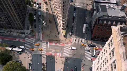 Aerial view of Flatiron building, New York, Manhattan. Residential and business buildings from above. Drone shot.