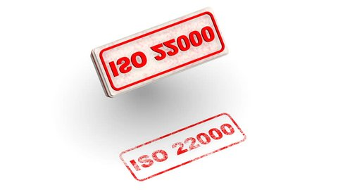 ISO 22000. The stamp leaves a red imprint ISO 22000 (ISO 22000 is a standard developed by the International Organization for Standardization dealing with food safety) on white surface. Footage video