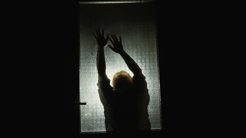 Horror. Night. Scary silhouette behind the door. Woman behind the glass