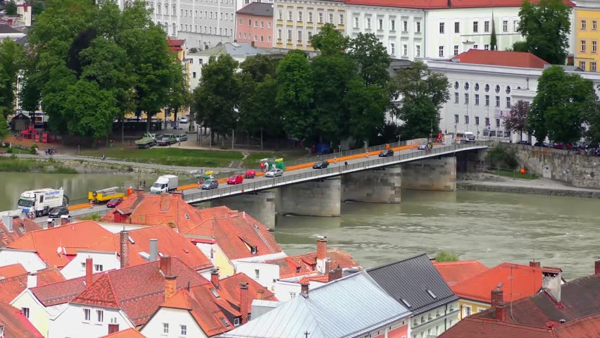 """4K of Passau, Germany, from the South. Passau is also known as the """"City of Three Rivers,"""" because the Danube is joined here by the Inn and the Ilz"""