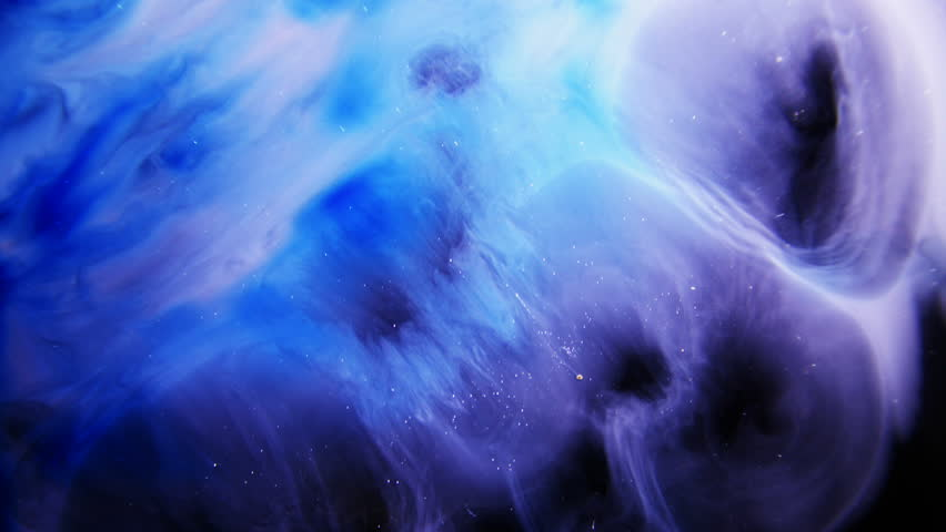 Blue Colorful Ink And Paint Liquid Reaction / Cosmos Nebula background #1012327655