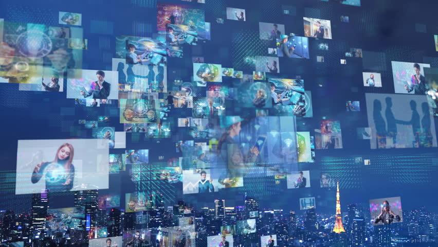 Social media concept. Smart city. | Shutterstock HD Video #1012338905