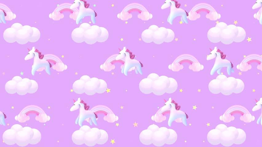 Animated Cartoon Pink Unicorn Wallpaper