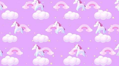 Animated cartoon pink unicorn wallpaper. (Looped)