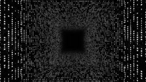 Abstract background with flying into digital tunnel from flickering particles, digits 0 and 1 as binary code and plexus of network. Animation of seamless loop.