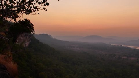 Pha Taem National Park before Sunrise , Pan View from Left to Right