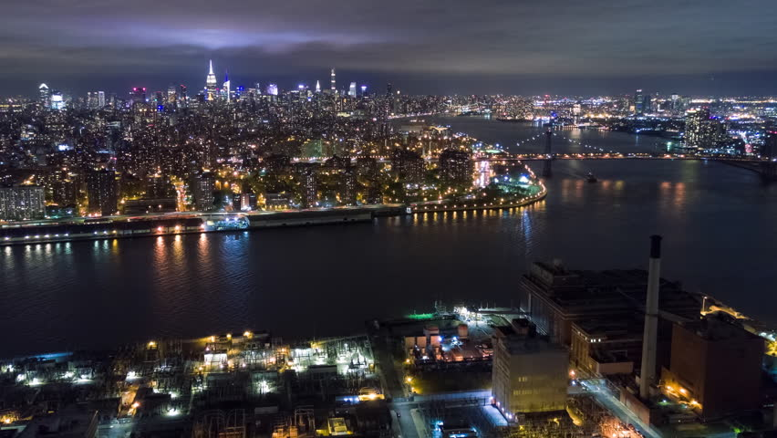 Aerial night view of Manhattan, New York City. Tall buildings. Timelapse dronelapse. NY from above. | Shutterstock HD Video #1012402205