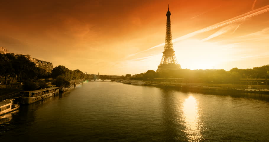 Eiffel tower, sunset time, Paris. France | Shutterstock HD Video #1012412225