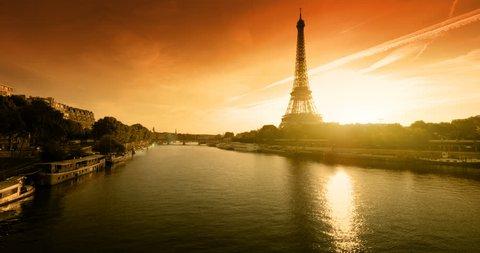 Eiffel tower, sunset time, Paris. France