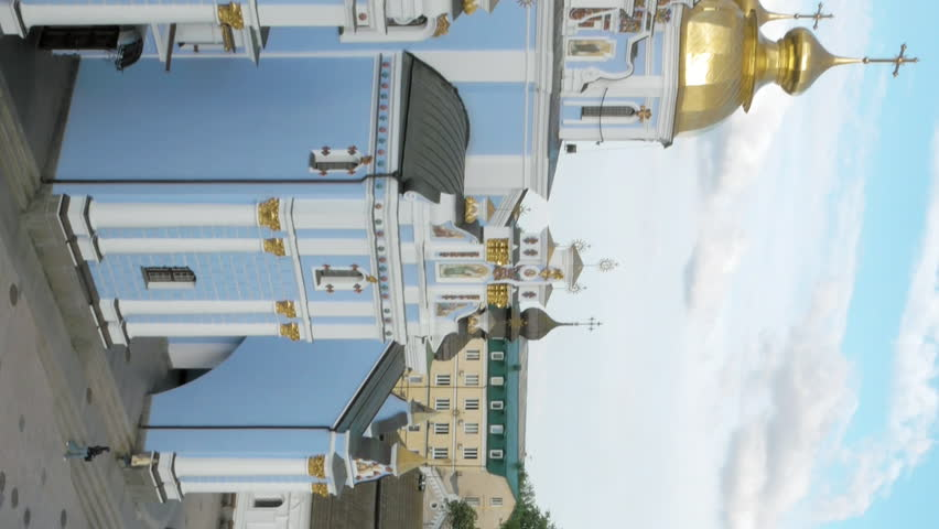 Panoramic view to St. Michael's Golden-Domed Monastery in Kiev, Ukraine. The Monastery was founded on 11th century. Christian orthodox classic architecture. Vertical format video.