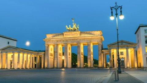 Berlin city skyline night to day timelapse at Brandenburg Gate (Brandenburger Tor), Berlin, Germany 4K Time lapse